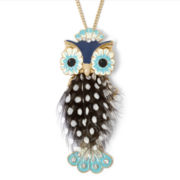 Decree® Silver-Tone Owl Feather Pendant Necklace