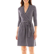 Liz Claiborne® 3/4-Sleeve Faux-Wrap Dress