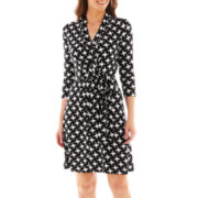 Liz Claiborne 3/4-Sleeve Faux-Wrap Dress