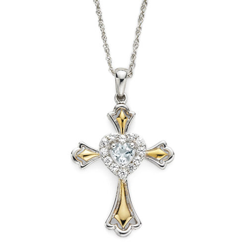 Aquamarine & Lab-Created White Sapphire Two-Tone Cross Pendant Necklace