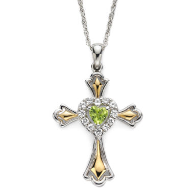 jcpenney.com | Peridot & Lab-Created White Sapphire Two-Tone Cross Pendant Necklace