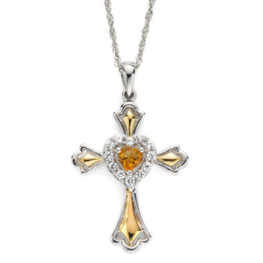 jcpenney.com | Citrine & Lab-Created White Sapphire Two-Tone Cross Pendant Necklace