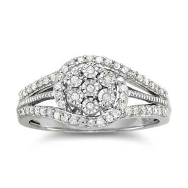 jcpenney.com | diamond blossom 1/3 CT. T.W. Diamond Cluster Sterling Silver Orbit Ring