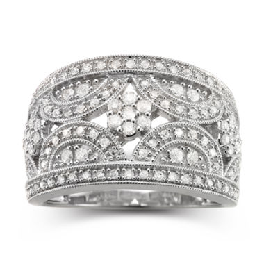 jcpenney.com | diamond blossom 1/2 CT. T.W. Diamond Cluster Sterling Silver Ring