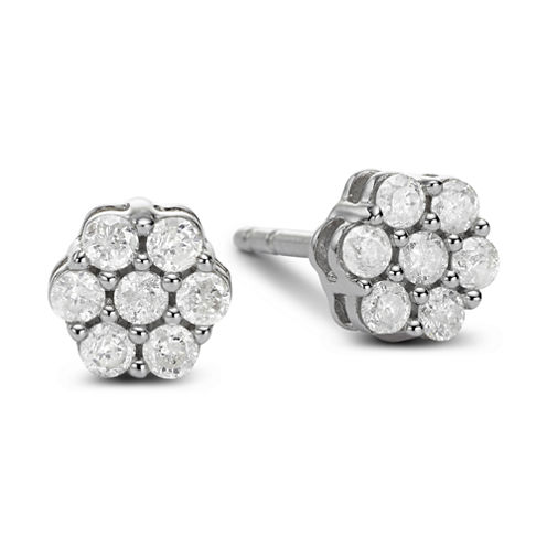 diamond blossom 3/4 CT. T.W. Diamond 10K White Gold Stud Earrings