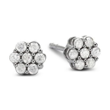jcpenney.com | diamond blossom 1/5 CT. T.W. Diamond 10K White Gold Stud Earrings