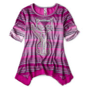 Knit Works Embellished Stripe Top – Girls 6-16