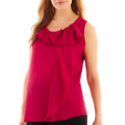 Maternity Sleeveless Ruffled Blouse