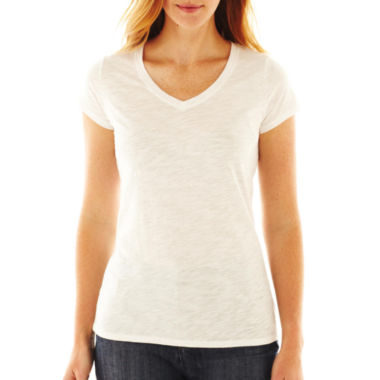 jcpenney.com | jcp™ Essential Short-Sleeve Relaxed Fit V-Neck Tee