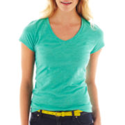 jcp™ Essential Short-Sleeve Relaxed Fit V-Neck Tee - Petite