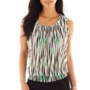 Worthington® Sleeveless Chiffon Mesh Smocked Burnout Knit Top