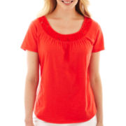 St. John's Bay® Short-Sleeve Lace-Inset Top - Petite