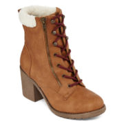 Pop Aldridge Faux-Fur Cuff Womens Booties