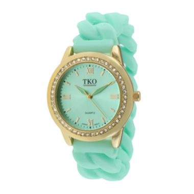 jcpenney.com | TKO ORLOGI Womens Crystal-Accent Chain-Link Green Silicone Strap Stretch Watch