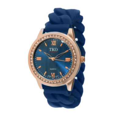 jcpenney.com | TKO ORLOGI Womens Crystal-Accent Chain-Link Blue Silicone Strap Stretch Watch
