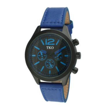 jcpenney.com | TKO ORLOGI Mens Blue Leather Strap Multifunction-Look Watch