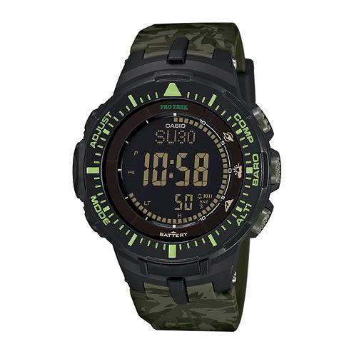 Casio® Pro Trek Tough Solar Triple Sensor Mens Green Camo Sport Watch PRG300CM-3