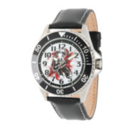 Marvel® Ant-Man Mens Black Leather Strap Watch