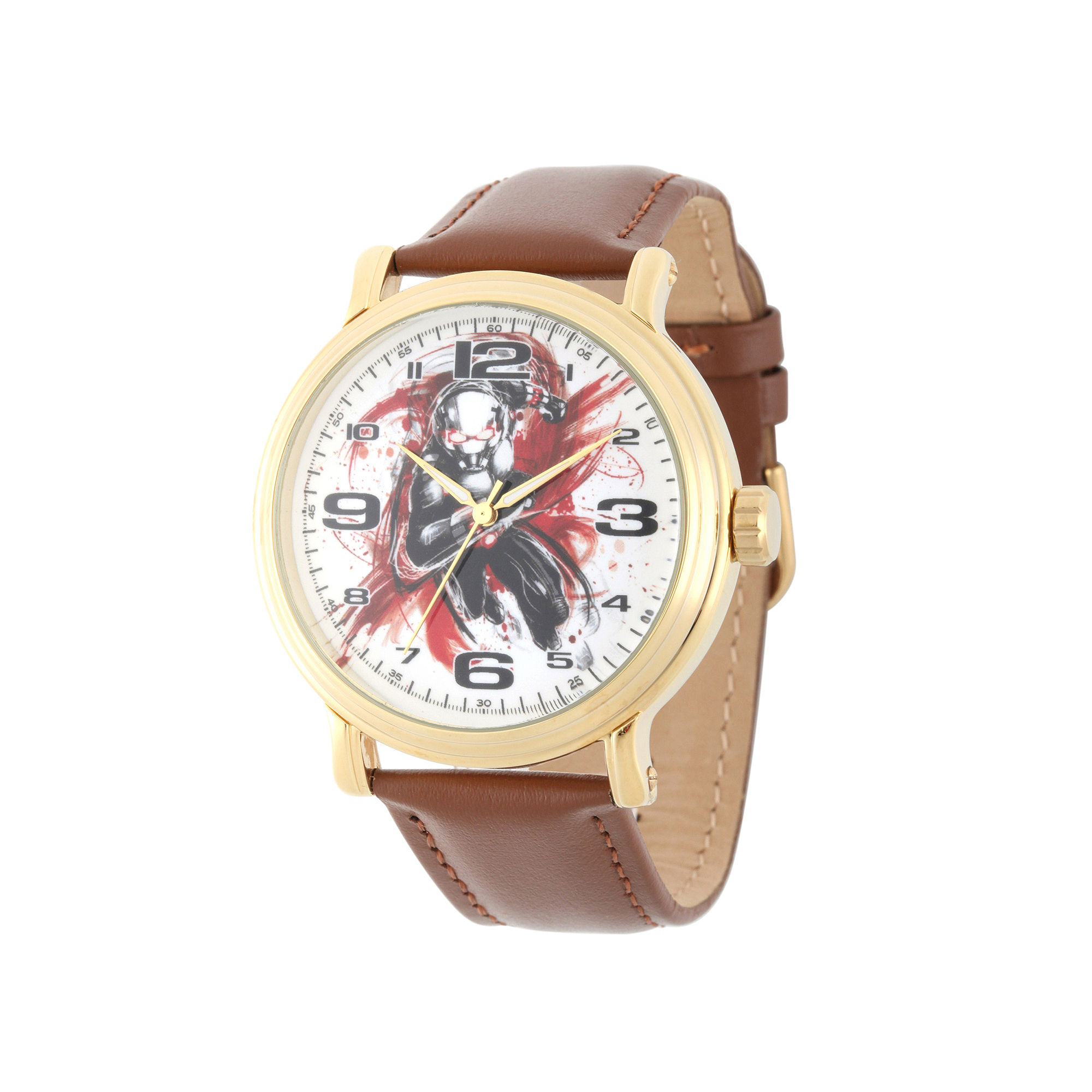 Marvel Ant-Man Mens Brown Leather Strap Vintage-Style Watch