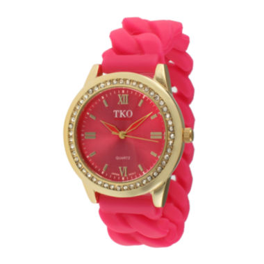 jcpenney.com | TKO ORLOGI Womens Crystal-Accent Chain-Link Pink Silicone Strap Stretch Watch