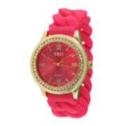 TKO ORLOGI Womens Crystal-Accent Chain-Link Pink Silicone Strap Stretch Watch