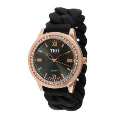 jcpenney.com | TKO ORLOGI Womens Crystal-Accent Chain-Link Black Silicone Strap Stretch Watch