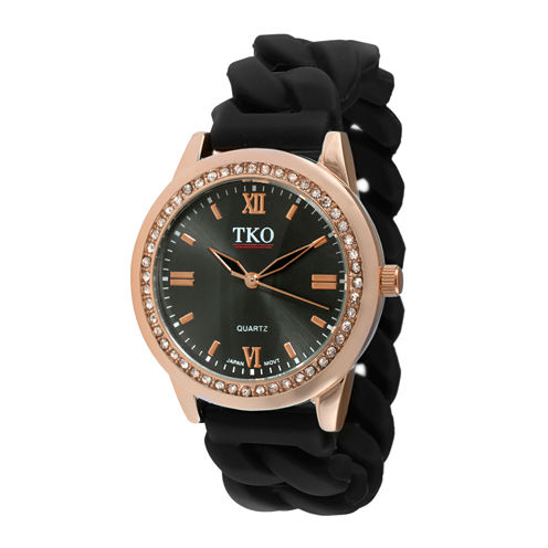 TKO ORLOGI Womens Crystal-Accent Chain-Link Black Silicone Strap Stretch Watch