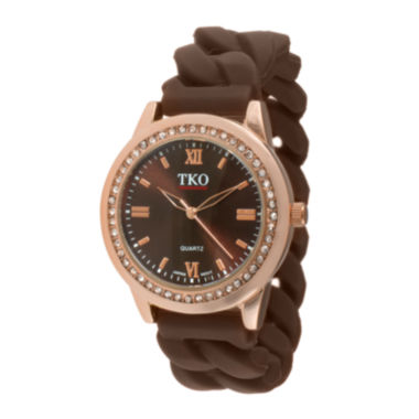 jcpenney.com | TKO ORLOGI Womens Crystal-Accent Chain-Link Brown Strap Silicone Stretch Watch