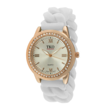 jcpenney.com | TKO ORLOGI Womens Crystal-Accent Chain-Link White Silicone Strap Stretch Watch