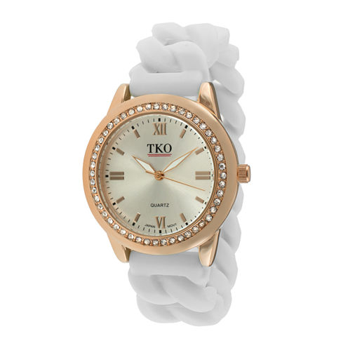 TKO ORLOGI Womens Crystal-Accent Chain-Link White Silicone Strap Stretch Watch