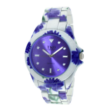 jcpenney.com | TKO ORLOGI Womens Purple Floral Print Bracelet Watch