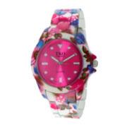 TKO ORLOGI Womens Pink Floral Print Bracelet Watch