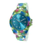 TKO ORLOGI Womens Blue Floral Print Bracelet Watch