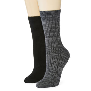 jcpenney.com | Mixit™ 2-pk. Marled Cable Knit Crew Socks