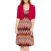 Perceptions Short-Sleeve Chevron Print Jacket Dress