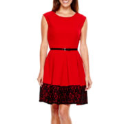 Tiana B. Cap-Sleeve Belted Lace Border Fit-and-Flare Dress - Petite