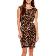 Tiana B. Cap-Sleeve Animal Print Panel Sheath Dress - Petite