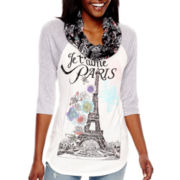 Self-Esteem® Raglan-Sleeve Graphic Top with Scarf