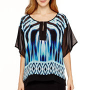 Bisou Bisou® Short-Sleeve Colorblock Tunic