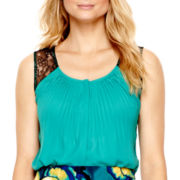 Worthington® Sleeveless Lace-Trim Woven Shell Top - Tall