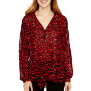 i jeans by Buffalo 3/4-Sleeve Tie-Front Print Top