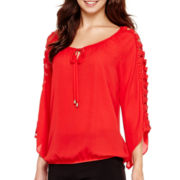 Alyx® Crochet Bell-Sleeve Bubble Top
