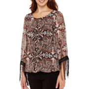 Alyx® 3/4-Sleeve Fringe Bubble Top