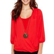 Alyx® 3/4-Sleeve Wrap Knit Top with Necklace