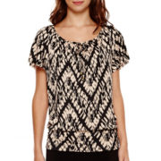 Alyx® 3/4 Flutter-Sleeve Knit Top with Necklace