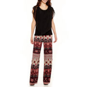 Alyx® Overlay Top or Print Palazzo Soft Pants