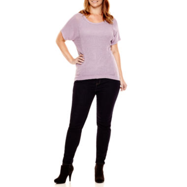 jcpenney.com | a.n.a® Open-Stitch Sweater, Strappy Cami or Jeggings - Plus