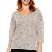a.n.a® 3/4-Sleeve Textured Knit Top - Plus