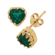 Lab-Created Emerald 14K Gold Over Silver Earrings