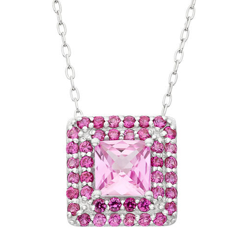 Lab Created Pink Sapphire & Lab Created White Sapphire Sterling Silver Pendant